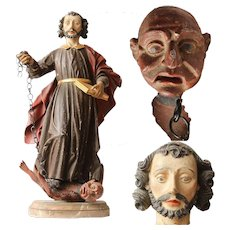 18th Century Sculpture of St. Cyriacus & the Devil in Chains - Wood Carved Polychrome Baroque Figure St. Cyriac