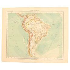 Art Nouveau Map of South America (Stieler 1902)