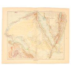Art Nouveau Map of Arabia incl. Egypt, Palastine, Jerusalem and more (Stieler 1902)