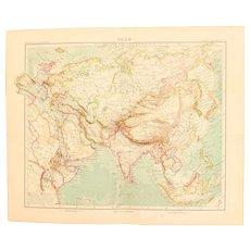 Art Nouveau Map of Asia (Stieler 1902)