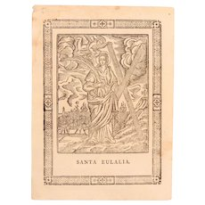 18th Century Engraving of Santa Eulaia - Baroque Print of Eulalia of Barcelona