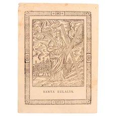 18th Century Engraving of Santa Eulaia - Baroque Print of Eulalia of Barcelona