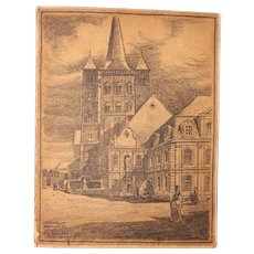 1900's Original Art Nouveau Charcoal Drawing of Church in Brauweiler Germany by Franz Brantzky