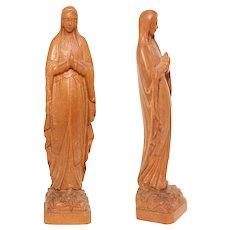 Art Nouveau Grand Tour Souvenir Carving of Our Lady of Lourdes - Wood Mary Sculpture by Lucien Tessry