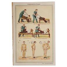 Art Nouveau Print about healing gymnastics - 1900's Polychrome Lithograph
