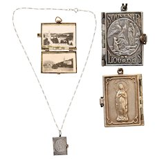 French Art Nouveau Miniature Photo Album Pendant of Lourdes on a Vintage Sterling Silver Necklace - Souvenir from France
