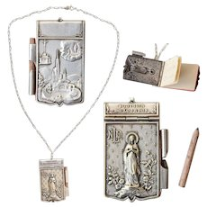 Art Nouveau Miniature Notepad Pendant of Lourdes on a Vintage Sterling Silver Necklace - Souvenir from France