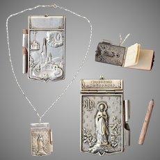 Art Nouveau Miniature Notepad Pendant of Lourdes on a Vintage Sterling Silver Necklace - Souvenir from France