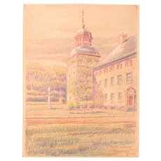 1920's Original Pastel Drawing of Castle Corvey in Germany by Franz Brantzky