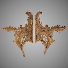 Exceptional Set of 2 18th Century Rococo / Baroque Wood Carved Gilt Ornaments