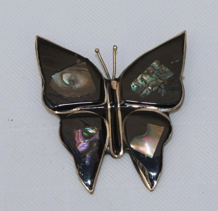 049fa9469060f Handmade Butterfly Brooch with Mother of Pearl & Alpaca - Vintage Artisan  Pin from Mexico