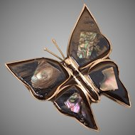 Handmade Butterfly Brooch with Mother of Pearl & Alpaca - Vintage Artisan Pin from Mexico