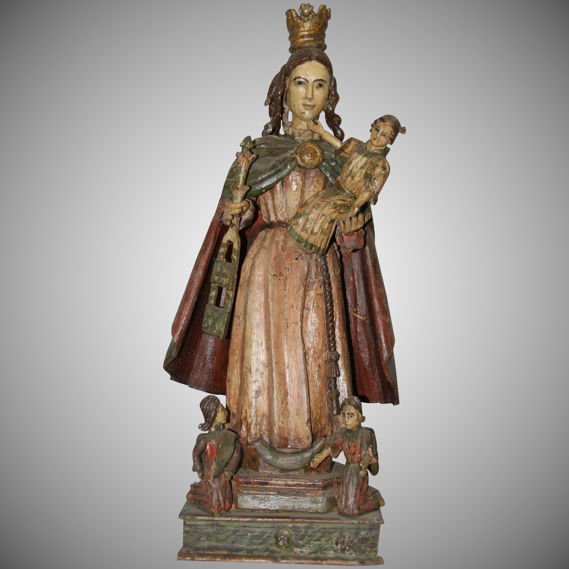 18th century sculpture of the crowned virgin wood carved