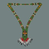Handmade Native American Bead Necklace - Beadwork Jewelry with Eagle in Southwestern Design