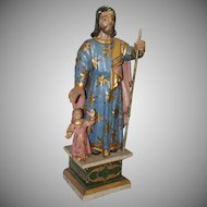 17th - 18th Century Sculpture of St. Joseph with Jesus Child  - Wood Carved Polychrome Baroque Figure from Spain