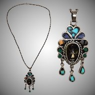 Vintage Mexican 925 Sterling Silver & Gemstone Necklace in Inca Design