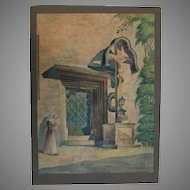 "1930 Original Impressionism Aquarelle Painting ""Nun by the Church"" by Paul Münster"
