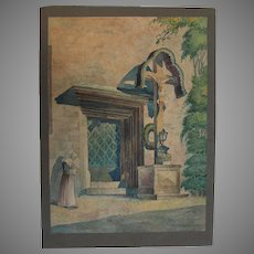 """1930 Original Impressionism Aquarelle Painting """"Nun by the Church"""" by Paul Münster"""