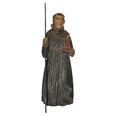 17th Century Sculpture of Saint Anthony of Padua - Wood Carved Polychrome Folk Art Figure from Spain