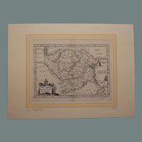 17th century map of Romania and Bulgaria by Ph. Cluverius