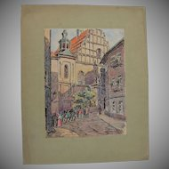 1910's Original Art Nouveau Ink & Pastel & Watercolor Drawing of City scene in Lublin by Franz Brantzky