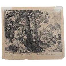 "Old Master - Flemish - 16th Century Engraving ""EULOGIUS"" by RAPHAEL & JOHANNES SADELER"