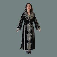 Vintage Black Velvet Metallic Embroidered Caftan Maxi Dress