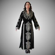 Vintage Black Velvet Metallic Embroidered Caftan Maxi Dress