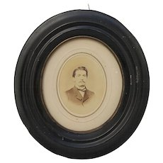 19th Century Framed Portrait Photo of Young Man - 1866 Biedermeier Memorabilia with dedication