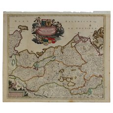 Beautiful 17th Century Antique baroque map of Northern Germany by Frederick de Witt