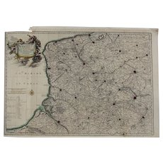 17th Century Antique map of North East France / Artois including Calais - by Visscher N. (1695)