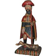 18th Century Sculpture of Saint Roch / Rock - Wood Carved Polychrome Folk Art Figure of St Rocco from Spain