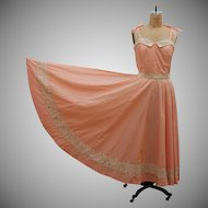 1970s Vintage Peach Prairie Dress with Full Skirt