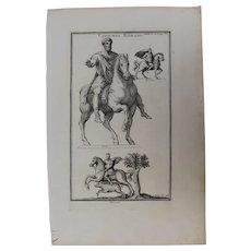 18th Century Copper Engraving of Ancient Roman Cavalryman from L'antiquité expliquée et représentée en figures by Bernard de Montfaucon