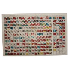 Very RARE 18th Century Table of all ship's flags in the world - Gerard van Keulen