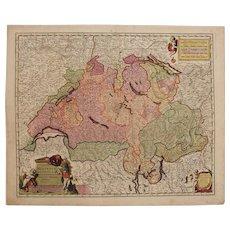 17th Century Map of Switzerland (Nicolaum Visscher)
