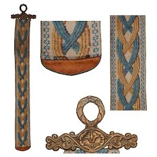 19th Century Victorian Bell Pull with Handmade Bead Work and Bronze Fitting