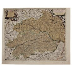 17th Century Antique map of Lower Bavaria, Germany including Munich - by Visscher N. (1690)