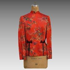 Vintage 1970s Asian Ethnic Orange Crane Flower Blouse