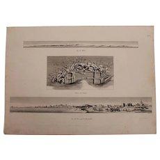 "Antique Birdseye View of Alexandria & Malta + A Site Map of Ruins - Original Copper Engraving from ""Napoleons Travels to Egypt"" (Vivant Denon)  1802"