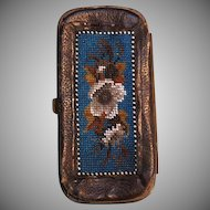 1800's Victorian Hand beaded leather wallet