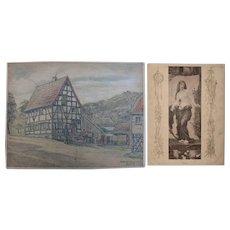 1920's Original Art Nouveau Pastel Drawing of old Mill by Franz Brantzky & Original Art Nouveau Print of a Nymph