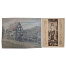 1920's Original Art Nouveau Pastel Drawing of old Mill by Franz Brantzky & Original Art Nouveau Print of a Nymph
