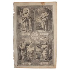 Rare 18th Century Copper Engraving of The four Major Prophets of the Old Testament