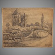 1920's Original Art Nouveau Pencil Drawing of Uckerath, Germany by Franz Brantzky