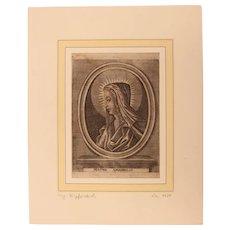 "17th Century Copper Engraving of ""Mater Amabillis"""