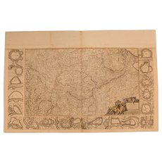 17th Century Map showing the course of the Rhine River, Moesel and Neckar & 18 plans of the fortifications by Frederick de Witt