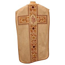 Baroque Style Clerical Vestment / Chasuble with Colorful & Real Silver Embroidery / 19th Century from Spain