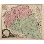 18th century map of the Znaym region of Moravia (Czech Republic) by Johann Baptist HOMANN 1720