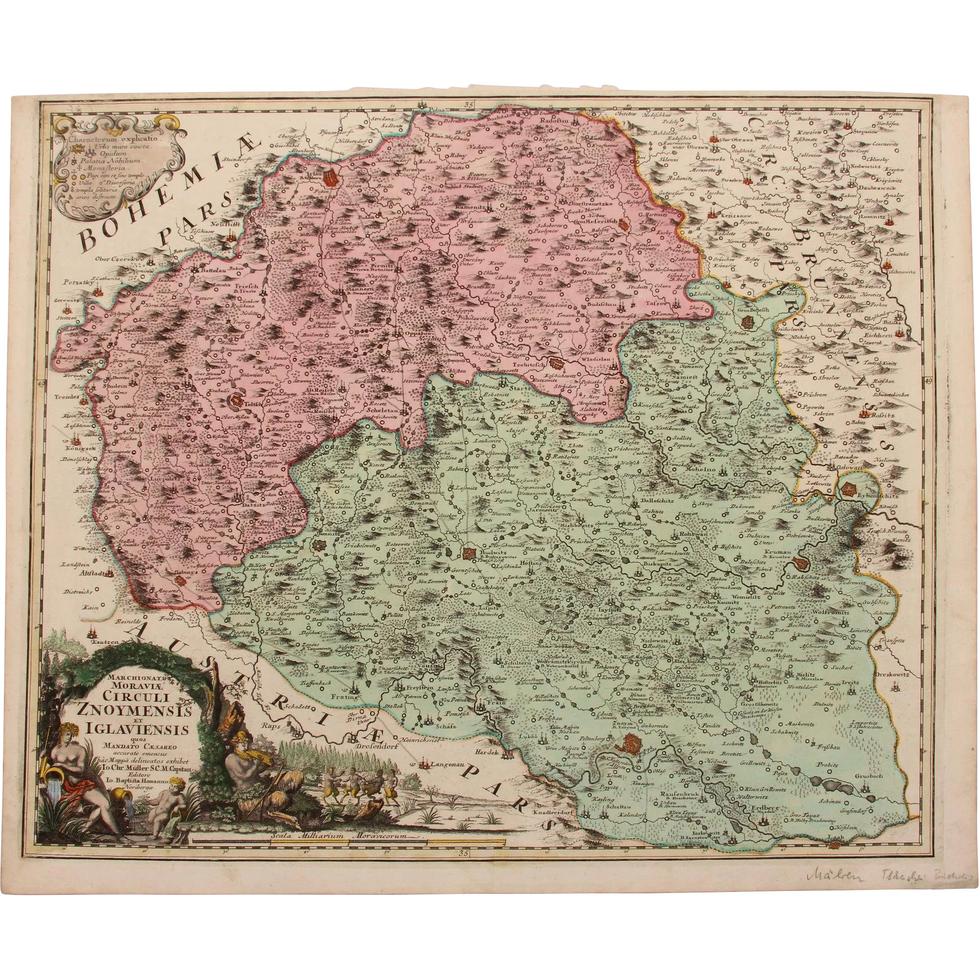 18th century map of the Znaym region of Moravia (Czech ...